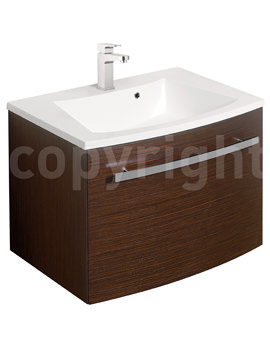 Bauhaus Stream Wenge Wall Hung 1 Drawer Basin Unit 590mm-ST5900WN
