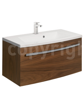 Bauhaus Stream American Walnut Wall Hung 1 Drawer Basin Unit 850mm