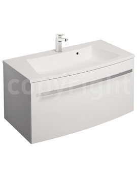 Bauhaus Stream White Gloss Wall Hung 1 Drawer Basin Unit 850mm