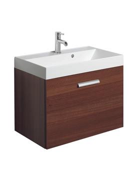 Bauhaus Design Plus 700mm Single Drawer Wall Hung Basin Unit Walnut