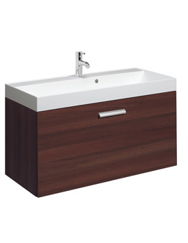 Design Plus 1000mm Single Drawer Wall Hung Basin Unit Walnut