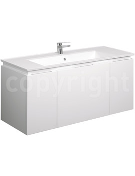Bauhaus Linea 1200mm Single Drawer-2 Door Basin Unit White Gloss