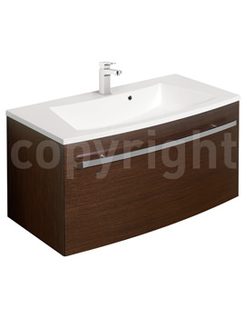 Bauhaus Stream Wenge Wall Hung 1 Drawer Basin Unit 850mm-ST8500WN