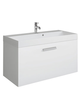 Design Plus 1000mm Single Drawer Wall Hung Basin Unit White Gloss