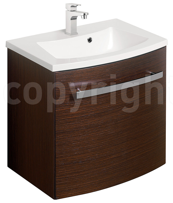 Large Image of Bauhaus Stream Wenge Wall Hung 1 Door Basin Unit 440mm - ST4400WG