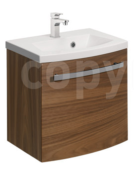 Stream American Walnut Wall Hung 1 Door Basin Unit 440mm