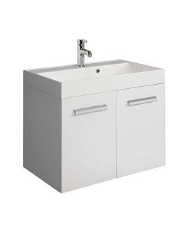 Bauhaus Design 700mm Two Door Wall Hung Basin Unit White