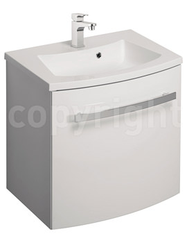 Bauhaus Stream White Gloss Wall Hung 1 Door Basin Unit 440mm