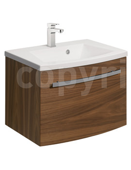 Bauhaus Stream American Walnut Wall Hung 1 Drawer Basin Unit 590mm