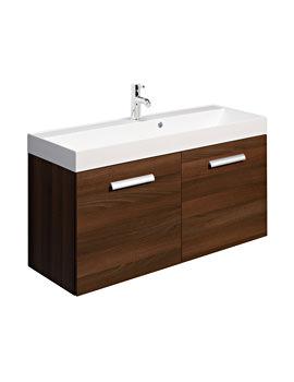 Bauhaus Design 1000mm Two Door Wall Hung Basin Unit Walnut - DE1000FWT