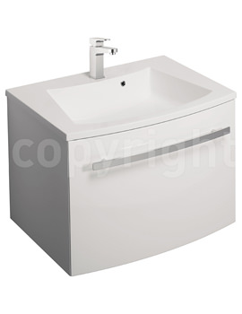 Bauhaus Stream White Gloss Wall Hung 1 Drawer Basin Unit 590mm