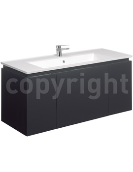 Bauhaus Linea 1200mm Single Drawer-2 Door Basin Unit Graphite - LN1200DGR