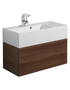 Elite 700mm Wall Hung Basin Unit Walnut - EL7000DWT