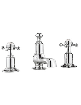 Belgravia Crosshead Chrome 3 Hole Deck Mounted Basin Mixer Tap