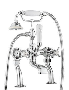 Belgravia Crosshead Chrome Deck Mounted Bath Shower Mixer Tap With Kit