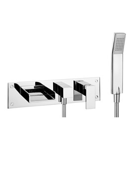 Water Square Wall Mounted 3 Hole Bath Shower Mixer With Kit