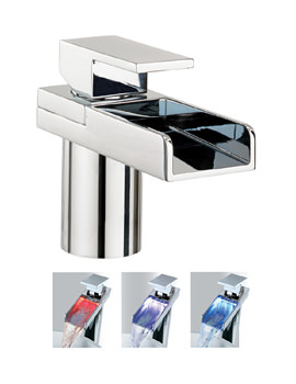 Water Square Monobloc Basin Mixer Tap With Light