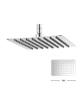 Glide 300 x 200mm Wide Rectangular Shower Head