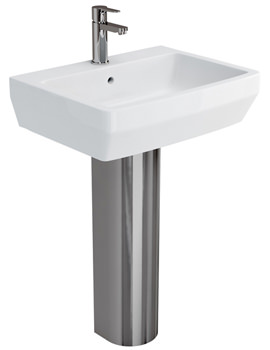 Related Britton Cube S20 Washbasin 600mm With Stainless Steel Pedestal