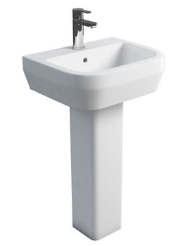 Related Britton Curve S30 Wash Basin 500mm With Square Fronted Pedestal