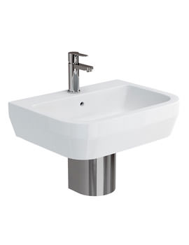 Related Britton Curve S30 600mm Basin With Stainless Steel Semi Pedestal