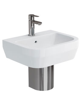 Related Britton Curve S30 500mm Basin With Stainless Steel Semi Pedestal