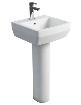 Cube S20 Washbasin 500mm With Tall Pedestal White
