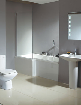 Qube Left Hand Shower Bath With White Panel And Screen 1700mm