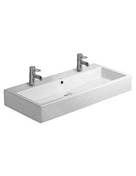 Duravit Vero White 1000 x 470mm 2 Tap Hole Washbasin - 0454100024