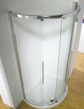 Original 810mm White Curved Slider Shower Door Side Access