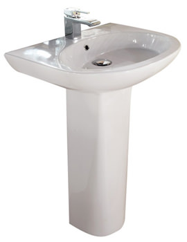 Infinity 1 Tap Hole Basin With Full Pedestal 600mm - INF60BAS1