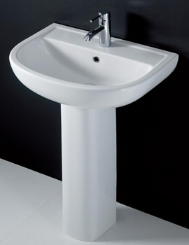 Compact 1 Tap Hole Basin With Full Pedestal 550mm - COM55BAS1