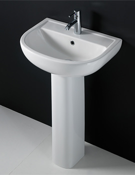 Compact 1 Tap Hole Basin With Full Pedestal 460mm - COM46BAS1