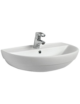 Twyford Refresh 650 x 500mm 1 Tap Hole Washbasin - RE4341WH