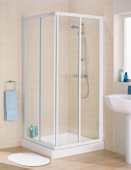 Lakes Classic Silver Frame Corner Entry Shower Cubicle 900 x 1850mm