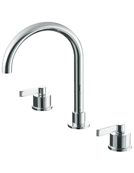 Silver 3 Hole Basin Mixer Tap With Pop-Up Waste