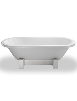 Orient Modern Bath 1690 x 750mm With White Wood Frame Stand