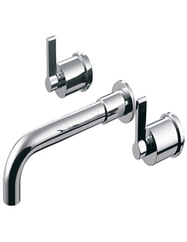 Silver 3 Hole Dual Control Wall Mounted Bath Filler Tap