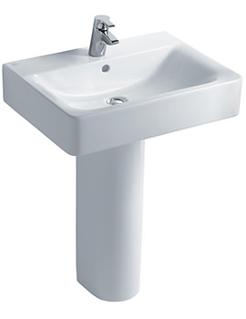 Concept Cube 600mm 1 Taphole Basin And Full Pedestal