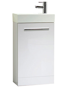 Kobe 450mm White Floorstanding Unit With Basin - KFS45W