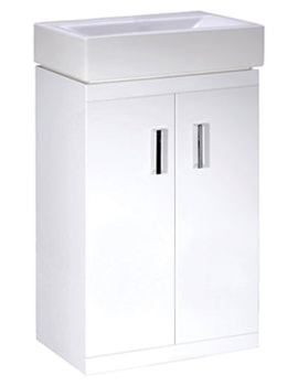 Lauren Checkers 450mm White Floor Standing Vanity Unit - VTFW450