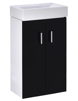 Lauren Checkers 450mm Black-White Floor Standing Vanity Unit- VTFBW450