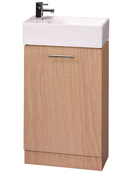Lauren Compact 500mm Beech Finish Cabinet And Ceramic Basin - VTY067