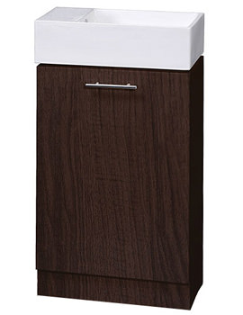 Lauren Compact Ebony Brown 500mm Cabinet And Ceramic Basin - VTY041