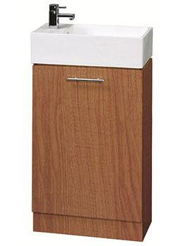 Lauren Compact 500mm Calvados Finish Cabinet And Ceramic Basin - VTY042