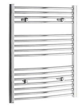 Curved 750 x 800mm Chrome Towel Rail - CURCR7580