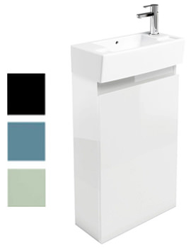 Britton Aqua Cabinets Narrow Floorstanding White Unit With RH Basin