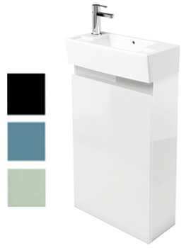 Britton Aqua Cabinets Narrow Floorstanding White Unit With LH Basin