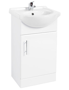450 x 300mm Single Door Vanity Unit And Basin High Gloss White