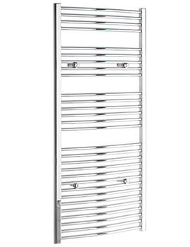 Curved 600 x 1600mm Chrome Towel Rail - CURCR60160